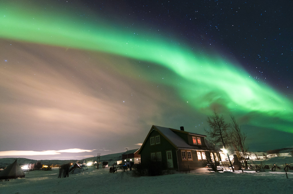 Aurora Boreale nell'inverno norvegese a Tromso, Norvegia