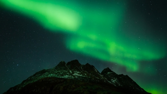 Aurora Borealis di notte in Norvegia